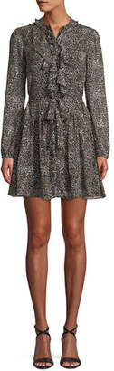 Saloni Tilly Long-Sleeve Floral Silk Mini Dress