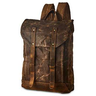 "BRASS TACKS Leathercraft Men's Heavy Duty Waxed Canvas Vintage Backpack Genuine Leather Trim Casual 15.6""laptop&Tablets Bookbag Travel Rucksack"