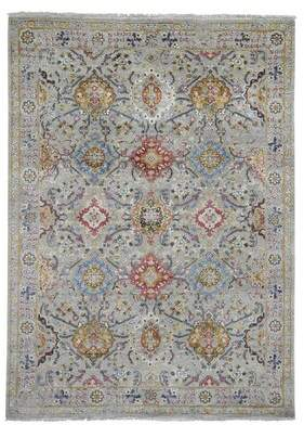 World Menagerie One-of-a-Kind Vanderford the Sunset Rosettes Hand-Knotted 5' x 7' Wool/Silk Gray Area Rug World Menagerie