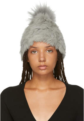Yves Salomon Grey Knitted Rabbit Pom Pom Beanie