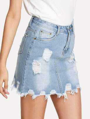 903953260a Shein Bleach Wash Ripped Denim SKirt