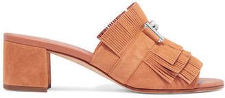 Tod's Embellished Fringed Suede Mules - Tan