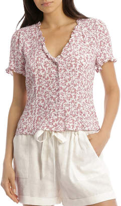 Miss Shop Pretty Ruffle Button Front Top
