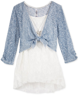 Beautees 3-Pc. Tank, Tie Front Shirt Set & Necklace, Big Girls (7-16) $42 thestylecure.com