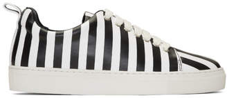 Marques Almeida Black and White Striped Leather Classic Sneakers