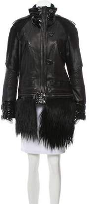 Barbara Bui Patent-Accented Leather Coat