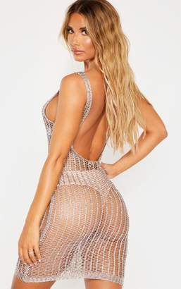 PrettyLittleThing Gold Metallic Sequin Detail Knitted Dress
