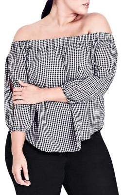 City Chic Plus Gingham Off Shoulder Cotton Blouse