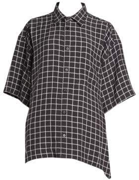 Balenciaga Mixed Scarf-Print Shirtdress