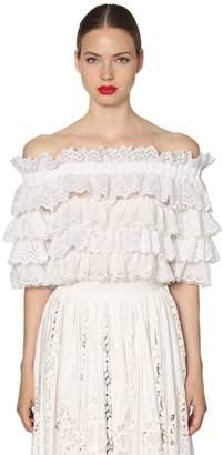 Dolce & Gabbana Ruffled Poplin & Lace Crop Top
