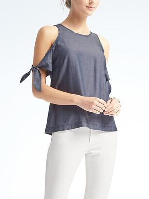 Cold-Shoulder Chambray Top $78 thestylecure.com