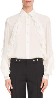 9d0ce456aba87 Givenchy Long-Sleeve Button-Front Silk Georgette Blouse w  Ruffle Detail