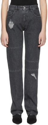 MM6 MAISON MARGIELA Black AIDES France Ripped Knee Panel Jeans