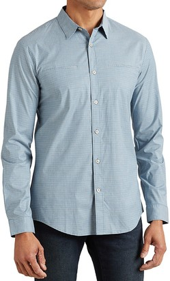 John Varvatos Star USA Micro Gingham Slim Fit Button-Down Shirt $148 thestylecure.com