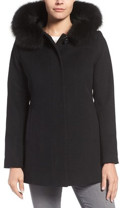 Women's Sachi Wool Blend Coat With Genuine Fox Fur Trim $348 thestylecure.com