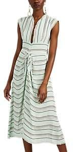 Proenza Schouler Women's Striped Textured-Gauze Midi-Dress - Mint