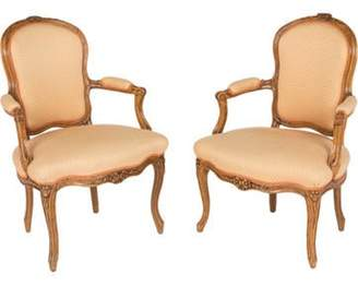 Pair of Louis XV-Style Armchairs White Pair of Louis XV-Style Armchairs