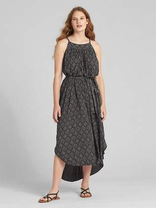 Gap Crinkle Print Tie-Belt Cami Midi Dress