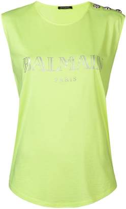 Balmain sleeveless logo top