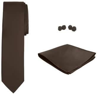 Jacob Alexander Solid Color Men's Slim Tie Hanky and Cufflink Set - Cocoa