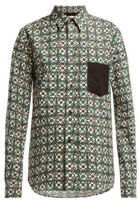 Golden Goose Floral Print Cotton Shirt - Womens - Green Print
