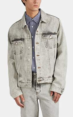 Martine Rose Men's Acid-Wash Denim Oversized Trucker Jacket - Light Gray