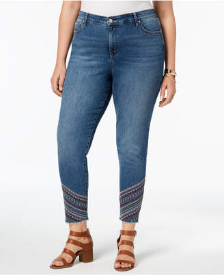 Style&Co. Style & Co Plus Size Embroidered-Hem Curvy-Fit Skinny Jeans, Created for Macy's