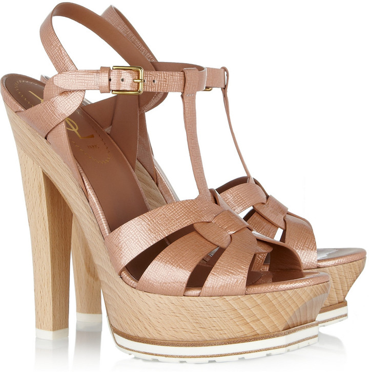 Yves Saint Laurent Tribute patent-leather and wood sandals