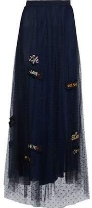 RED Valentino Appliquéd Point D'esprit Maxi Skirt