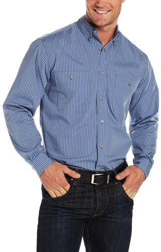 Wrangler Men's Rugged Wear Wrinkle Resist Striped