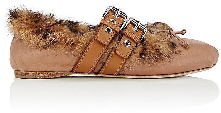 Miu Miu Women's Double-Buckle Leather Flats