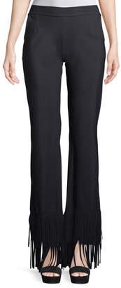 Chiara Boni Tonia Wide-Leg Pants w/ Fringe