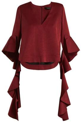 Ellery Reverberation Deconstructed Sleeved Top - Womens - Burgundy