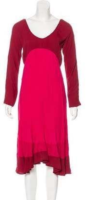 Saint Laurent Long Sleeve Knee-Length Dress