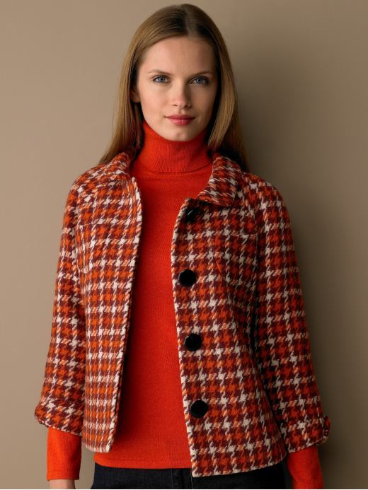 Bright houndstooth coat - Burgundy