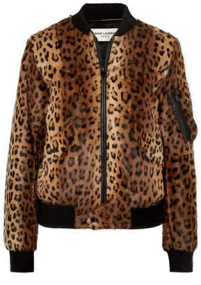 6e550331562a Saint Laurent Leather-trimmed Leopard-print Goat Hair Bomber Jacket - Brown