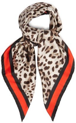 Dolce & Gabbana Leopard Print Silk Twill Scarf - Womens - Brown