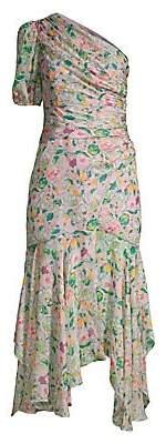 AMUR Women's Laura Floral Silk Asymmetric Dress