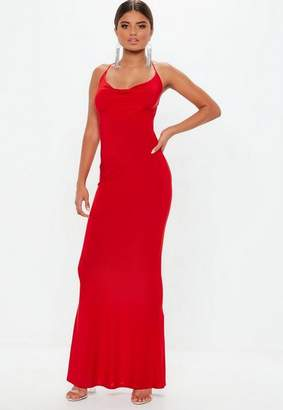 Missguided Red Slinky Cowl Maxi Dress