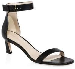 Stuart Weitzman Square Nudist Strappy Leather Sandals