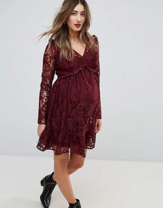 Asos Lace Smock Mini Dress with Ruffles