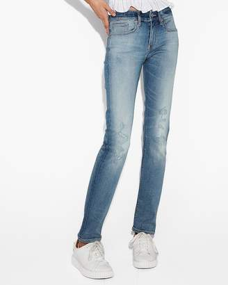 Express Mid Rise Ripped Stretch+ Performance Skinny Jeans