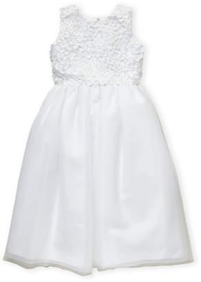 Joan Calabrese For Mon Cheri (Girls 7-16) White Flower Petal Applique Dress