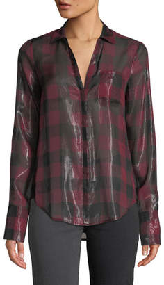 Paige Bevyn Metallic Plaid Button-Front Shirt