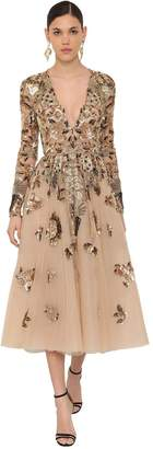 ZUHAIR MURAD EMBROIDERED V NECKLINE TULLE MIDI DRESS