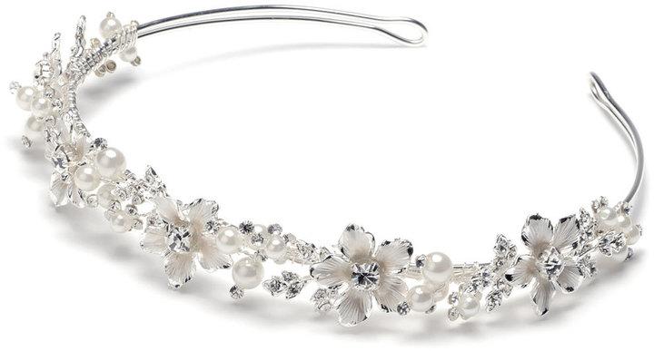 Etsy Pearl Bridal Headband, Rhinestone Wedding Headband, Floral Wedding Headpiece, Pearl Headband, Flower