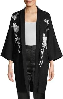 Josie Natori Felted Wool Embroidered Peacock Topper