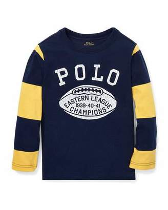 Ralph Lauren Polo Football Striped-Sleeves T-Shirt, Size 5-7