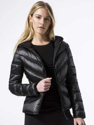 Blanc Noir Zip-Front Mesh Inset Hooded Jacket