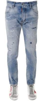 DSQUARED2 Light Blue Cotton Bootcut Faded & Teared Jeans